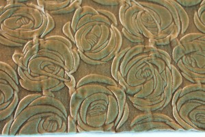 Embossed Viscose Velvet - Green Gold Floral