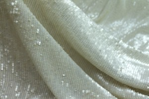 Overlapping Micro Sequin On Silk Chiffon - Ivory