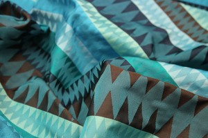 Geometric Brocade - Blues Turquoises and Brown