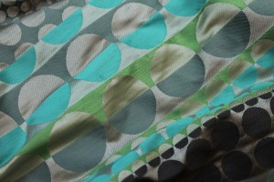 Geometric Brocade - Greens Turquoises and Beige
