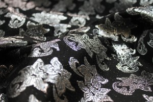 Black and Silver Floral Brocade