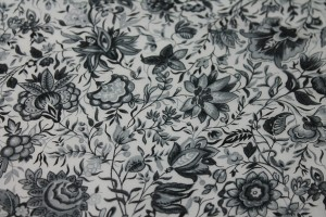 Floral Print Cotton - Black Grey and White