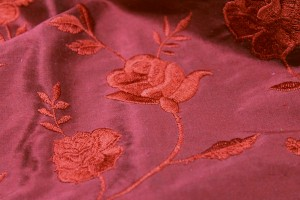 Rose Embroidery Silk Dupion - Red