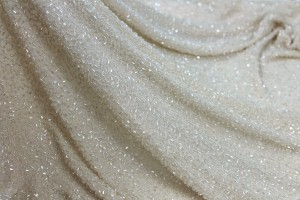Beaded Silk Chiffon - Blush with Clear Beads