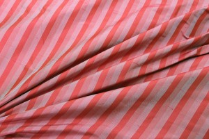 Wide Striped Silk Dupion - Tomato