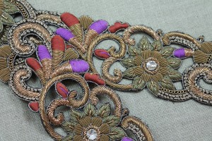 Zari Work Metallic Trim - Floral Gold, Mauve, Orange & Olive