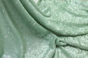 Overlapping Micro Sequin On Silk Chiffon - Mint