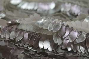 Leatherette Leaf Sequin - Silver