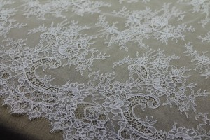 Corded Chantilly Lace - Ivory - Double Scallop