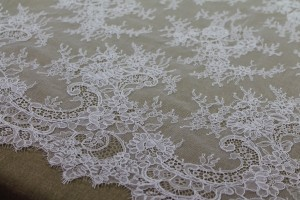 Corded Chantilly Lace - White Double Scallop