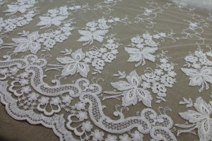 Ivory Cotton Embroidery on Nude Tulle