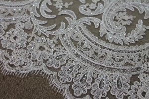 Corded Embroidered Tulle w/Sequins - Ivory - Double Scallop