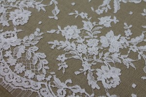 Beaded Leavers Lace - White