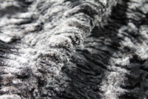 Faux Fur - Textured Grey Black Short Pile
