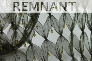 REMNANT - Green cut out tulle with teardrop crystal and bugle beads - 2.3m piece