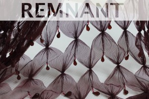 REMNANT - Burgundy cut out tulle with teardrop crystal and bugle beads - 6.8m piece