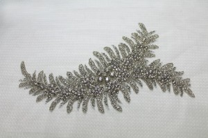 Beaded Diamante Trim or Motif in Silver - Left Side