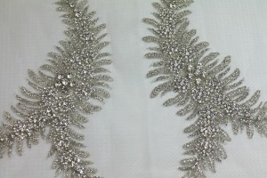 Beaded Diamante Trim or Motif in Silver - Pair