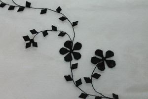 White Silk Organza - Black Applique Flowers