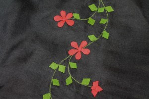 Black Silk Organza - Red and Green Applique Flowers