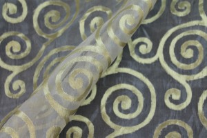 Silk Metal Organza - Ivory with Gold Swirls