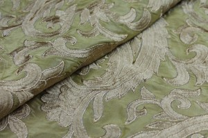 Large Gold Embroidery on Gold Silk Taffeta