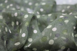 Polkadot Silk Chiffon - Greens with Black and Cream