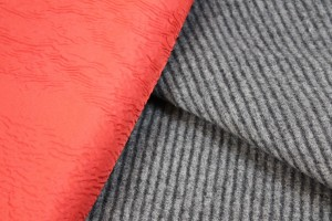 Grey Striped Wool Bonded to Red Nylon