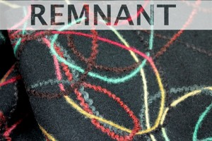 REMNANT - Black Heavy Wool with Multicolour Cord Embroidery - 1m piece