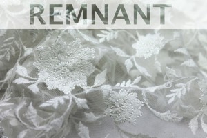 REMNANT - Flower and Vine Embroidered Tulle - Ivory - 0.9m piece