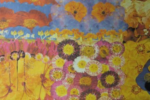 Art Print on Cotton Drill - Flowers in Pink, Yellow, Blue and Red