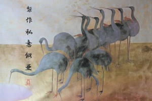 Art Print on Cotton Drill - Japanese Birds