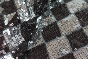 Harlequin Sequin On Tulle - Silver / Brown