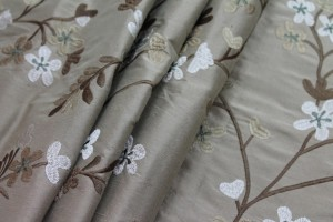 Floral Embroidered Silk Dupion - Taupe