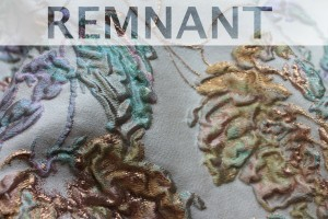REMNANT - Copper and Muted Purples and Greens Floral Brocade