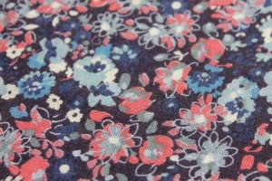 Floral Printed Lightweight Viscose Linen Blend - Blues