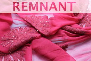 REMNANT - Embroidered Large Flowers w/Sequins on Silk Chiffon - Red - 2.9m piece