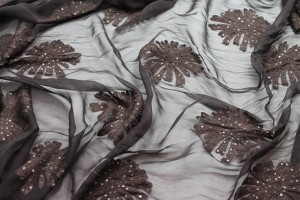 Dark brown chiffon with large embroidered flowers and small round holographic sequins