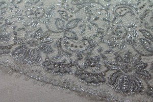 Beaded Metallic Silver Lace with Crystals