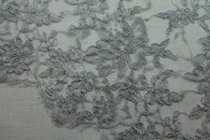 Corded Metallic Silver Leavers Lace