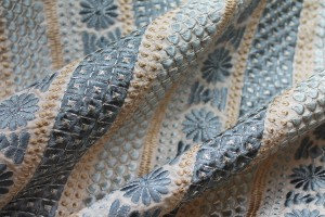 Blush Embroidered Silk Taffeta with Grey Blue and Silver Geometric