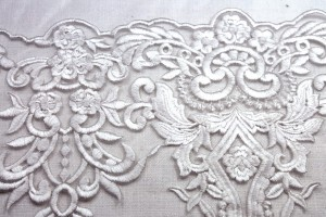 Heavily Embroidered Tulle - Ivory