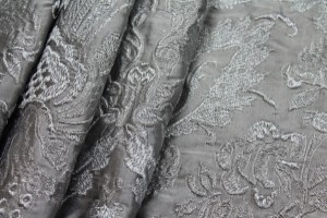 Heavy Jacquard Style Embroidery - Silver metallic