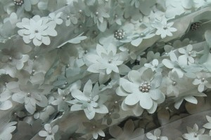 3D Cut Out Flowers with Pearls on Tulle - Duck Egg Blue