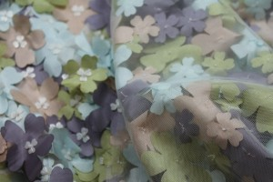 3D Cut Out Pastel Pink Green and Mauve Flowers on Tulle