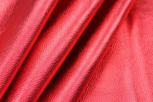 Textured Thick Metallic Leatherette - Red