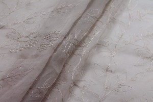 Metallic Floral Embroidery on Oyster Silk Chiffon