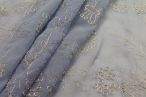 Metallic Floral Embroidery on Blue Silk Chiffon