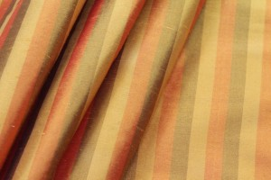 Wide Striped Silk Dupion - Orange