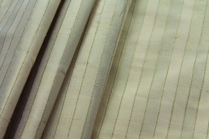 Wide Striped Silk Dupion - Pale Straw Gold